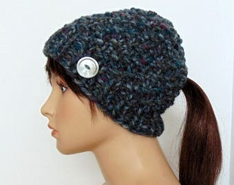 Ponytail Beanie Hat with Pony Tail Hole Low Ponytail Hole Hat Chunky Knit Handmade In Alaska Gift for Her Gray Running Active Hat