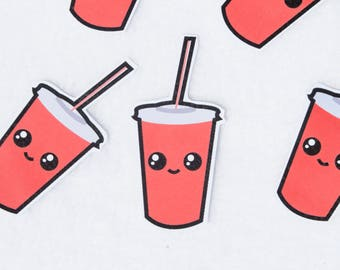 Soda Cup Sticker Fast Food Drink Cola Coke Cute Kawaii Stationary Drinking Culinary Artwork Original Character Face Red White Brands