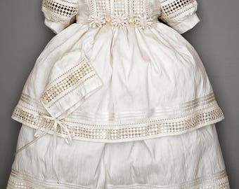 elegante ropon para bautizo de nia hecho a mano seda blanco o