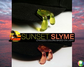 Sunset Slyme Green to Pink Light Reactive Brim Drip Hat Pin™ *LIMITED DRIP DROP*