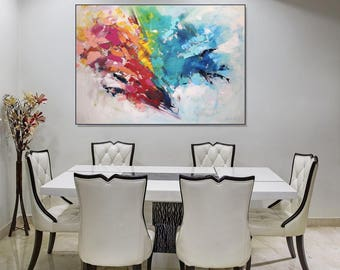 Large Wall Art Canvas Art/ Original Abstract Art Painting On Canvas/ Colorful Wall Art Living Room Decor/ Dining Room Wall Art, Christovart