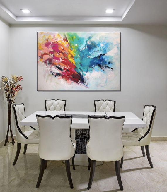 Dining Room Paintings: Large Wall Art Canvas Art/ Original Abstract Art Painting On