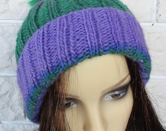 Hand Knitted Women's Purple And Green Two Style Winter Hat With A Green Pompom - Free Shipping