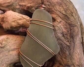 Sea foam green sea glass pendant with copper wire wrap