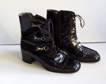Leather boots, size 7, Italian boots, womens boots, black booties, leather booties, ankle boots, lace up boots, black boots