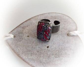 Ring, rectangular, black, red polymer clay set.