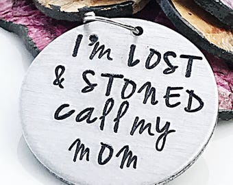 Funny Pet Tag, I'm Lost and Stoned, Personalized Pet Tag, Dog Tag, Pet ID Tag, Pet Tags, Dog Collar Tag, Dog ID, Hand Stamped Pet Tag