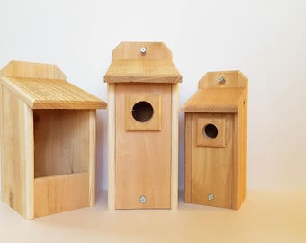 Cedar Bluebird House, Chickadee House, and Nesting Box