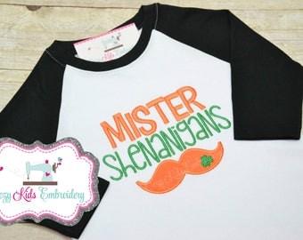 St. Patrick's Day shirt, St. Patty's day shirt, Saint Patrick's Day shirt, Saint Patty shirt, Mr. Shenanigans Shirt, boy shirt, applique