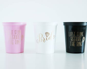 Bachelorette Party Favors, Last Fling Before the Ring, Bachelorette Party Cups, Bachelorette Stadium Cup, Bachelorette Gift, Bride Cup