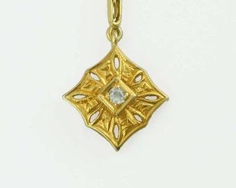 14kt Gold Diamond Open Work Square Dangle Charm Pendant