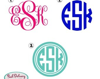 Single Color Monogram Decal | Circle Monogram Decal | Yeti Cup Decal | Laptop Decal | Car Decal | Custom Sticker | Personalized Monogram