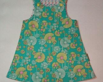 Baby Girls Pinafore Dress, Wind Flowers on Aqua, Amy Butler print, summer dress, toddler dress, baby dress, girl's dress. Age 6 to 9 months