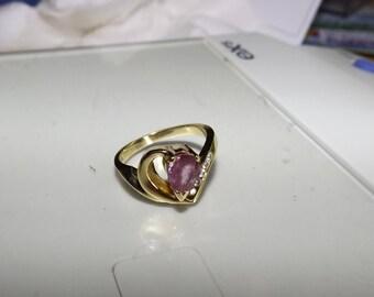 Diamond Ring,Art Deco Ring, Vintage Diamond Ring, Ring, Gift For Her, 14K Gold Ring, Pink Sapphire, Natural Sapphire, Sapphire and Diamonds