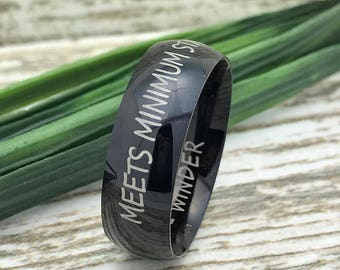8mm Black Tungsten Ring, Engraved Wedding Date Ring, Roman Numeral Ring, Coordinates Ring, Custom Promise Ring for Him, Purity Ring