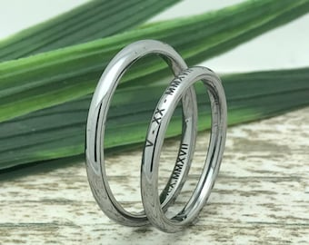 3mm Gunmetal Tungsten His and Her Ring Set, Engraved Wedding Date Rings, Coordinates Rings, Custom Promise Rings, Matching Couple Ring