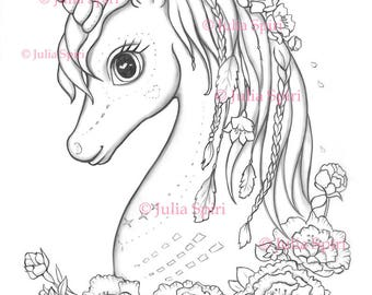 Coloring Pages, Digital stamp, Digi, Unicorn, Boho, Flowers, Peony, Fantasy, Whimsical Crafting.  The Unicorn Collection. Spirit Dreamer