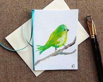 Bird card Bird greeting card Fine art card Nature inspired card Animal card Bird art card Greeting card Blank card Oil painting on canvas