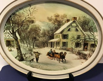 Vintage Currier and Ives Oval Tin Tray American Homestead Winter 1868 Shabby Chic Decor