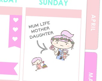 Mother Daughter Life Stickers / Planner Stickers