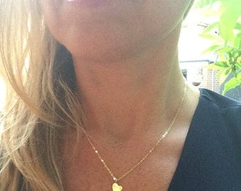 Tiny 24K Gold hammered heart necklace