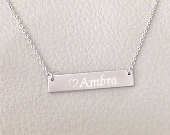 Sterling Silver Bar Necklace, Name Necklace, Sterling Silver Engraved Necklace, Bridesmaid Gift
