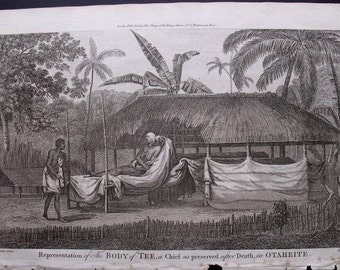 1785 Burial Rites/Ceremonies in Otaheite/Tahiti. The Body of Chief Tee Preserved After Death. Folio Captain Cook Antique, Original Engraving