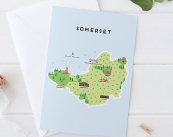 Somerset Map Greetings Card