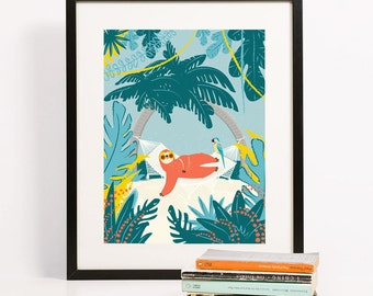 Sloth on Hammock Art Print | Tropical Illustration | Folk and Fauna Co.