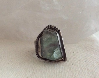 Sterling silver and fluorite ring, industrial jewelry