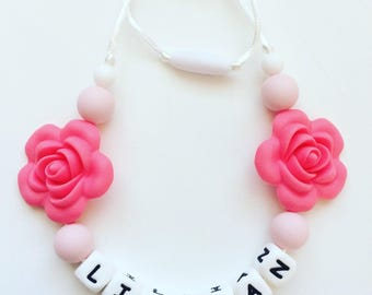 Flower Toddler Necklace, Personalized Rose Silicone Necklace, Silicone Teething Beads, Letter Silicone Beads, Bite Beads, Chew Beads