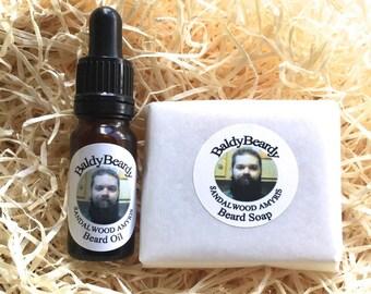 Sandalwood Amyris - men's beard grooming, care, maintenance package. Beard hydration, cleaning package. Beard softening kit from BaldyBeardy