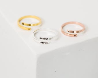 40% OFF Custom Name Ring • Personalized Letter Ring • Gold Dainty Ring • Custom Initials Ring  • Wrap Ring • Custom Name Gift for Her • RM33