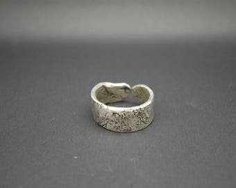 Hand forged man's silver ring, recycled silver band for him, OOAK silver band, men statement ring, gift for him