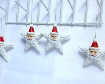 Primitive Santa Claus Ornament Set of Vintage Santas Christmas Star Ornaments Tree Ornaments, Collectible Secret Santa Rustic Christmas Gift