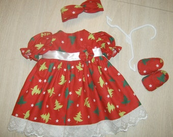 Free Shipping! 4 piece Christmas dress  Made to fit Our Generation and American Girl Dolls