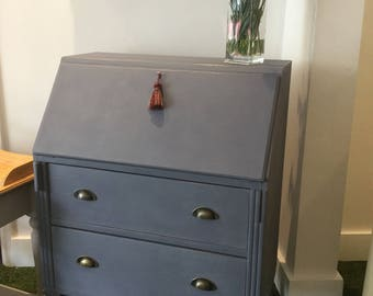 Vintage Art Deco Painted Annie Sloan Grey Desk/Writing Bureau