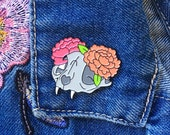 FACTORY SECONDS Cat Skull and Peonies - Soft Enamel Pin