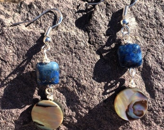 Beautiful Lapis and Abalone shell dangling earrings with sterling silver ear wires