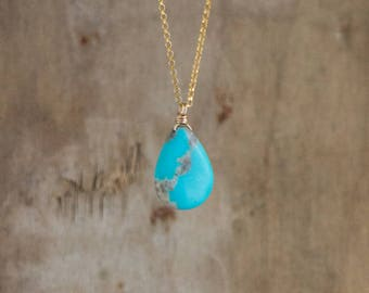 Turquoise Necklace, Gold or Silver Rustic Arizona Turquoise Necklace, December Birthstone, Real Turquoise Jewelry, Christmas Gift for Her