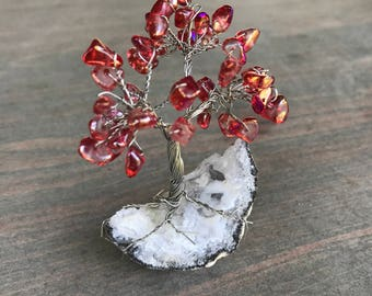 Mini Copper Wire Tree with Red Stones/Beads, Gemstone Tree on geode base