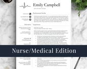 Nurse Resume Template for Word & Pages / Medical Resume, Nurse CV, Doctor Resume, RN Resume, Doctor CV | Instant Download Resume Template