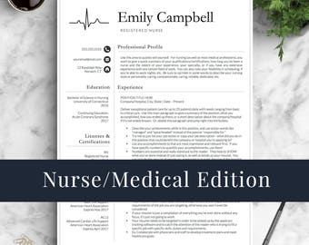 Nurse Resume Template For Word U0026 Pages / Medical Resume, Nurse CV, Doctor  Resume  Rn Resume Template