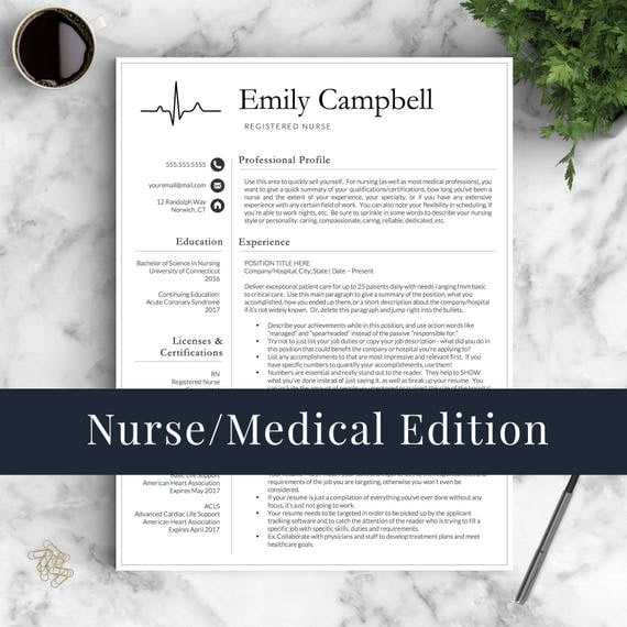 Nurse resume template for word pages medical resume nurse nurse resume template for word pages medical resume nurse cv doctor resume rn resume doctor cv instant download resume template yelopaper Image collections