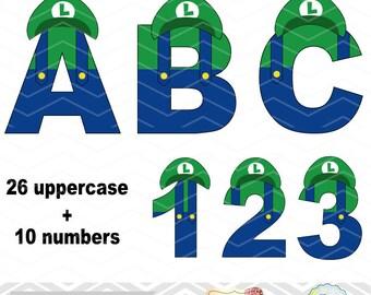 Digital Super Mario Clipart, Luigi Alphabet Clip Art, Luigi Number Clipart, Luigi Letters Clip Art Digital Super Mario Alphabet Clipart 0123