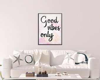 Good Vibes Only Large Framed Print , Framed art print , Quote , Large Poster, Inspirational , Motivational , Art , Good , Vibes , Pink
