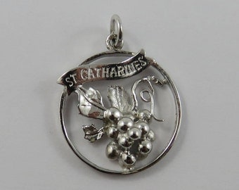 St. Catharines Grape Bunch Sterling Silver Vintage Charm For Bracelet