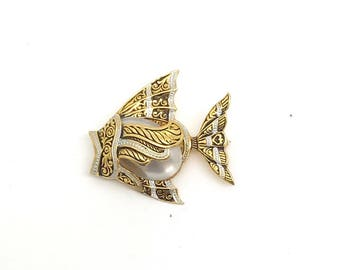 "Vintage ""Brocade"" Fish Brooch-Marked ""Spain"""