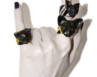 Women's ring Cat jewelry Black ring Gothic jewelry Black cat Zebra Leopard Witch jewelry Leather ring Cat ring Black leather ring Witchcraft