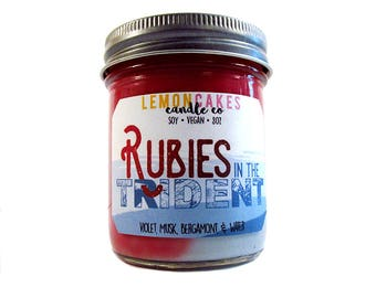 Rubies In The Trident - Book Candle - Book Lover Gift - LemonCakes Candle Co - 8oz Soy Candle